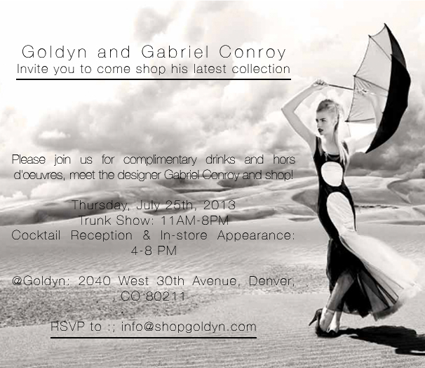 Gabriel Conroy trunk show invitation
