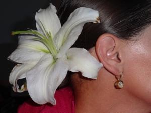 Earrings: Carla Morrison Fine Jewelry Flower: Local flower shop