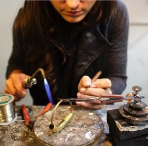Elizabeth in action at her studio