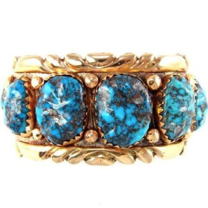 Alice Quam bracelet; turquoise & 14k gold over silver