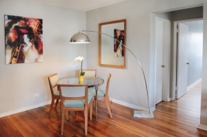 Ian's dining room with arc lamp displayed