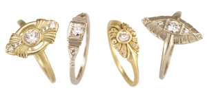 "Deco-style rings inspired by her own vintage engagement ring, from left to right: ""Gatsby"", ""Ella"", ""Sunrise"", ""Flapper"""
