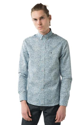 Shipley & Halmos Booster Button Up in Blue Floral Microprint