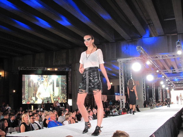 Laser cut leather skirt from Zoe Twitt