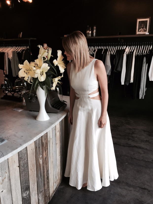 Tara models Mara Hoffman's Linen Cutout Maxi Dress, perfect for alternative brides