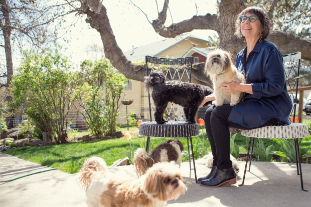 Janet and the dogs basking out back